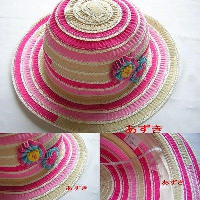 幼童束帶布帽-可愛糖果配色花朵款-卡其54cm下標區-紅豆商行