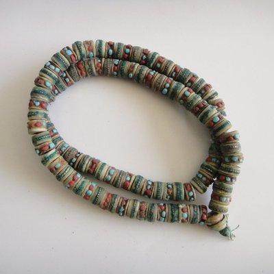 戀尚樂購/ 西藏佛教尼泊爾手工牦牛骨老佛珠手鏈108顆念珠扁珠jty-85