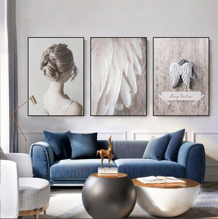 ART。DECO  冷色調時尚北歐粉色羽毛小清新裝飾畫田園風客廳現代沙發牆面女裝店個性掛畫文創藝術人物英文版畫(3款可選