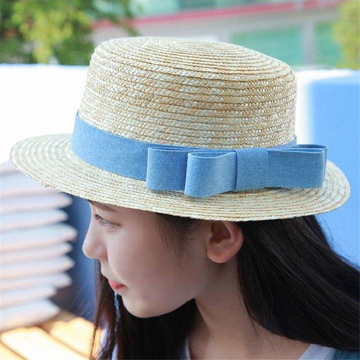 雲尚麥稈草帽女夏季沙灘帽甜美蝴蝶結度假出游防曬遮陽帽子平頂小禮帽