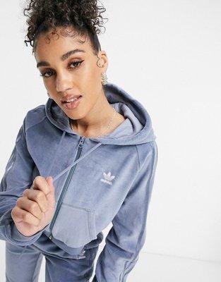 代購adidas Originals 'Relaxed Risqué' velour zip短版休閒運動外套UK6-18