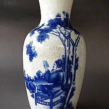 【 金王記拍寶網 】J3137 中國古瓷  民國八年珠山款  哥釉青花人物紋瓶 罕見稀少 一件