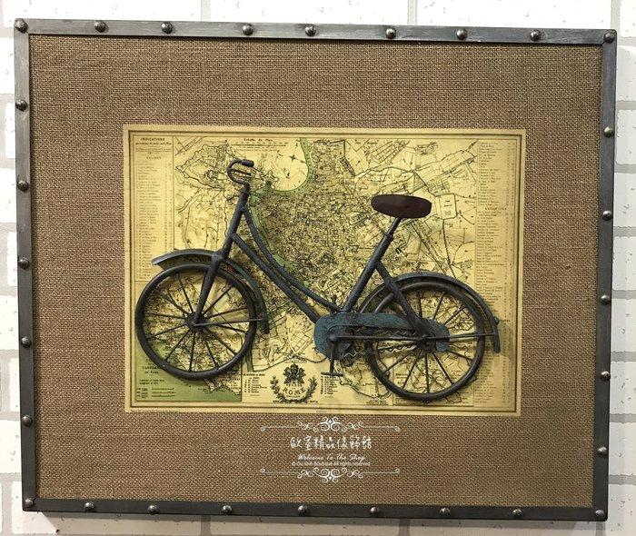 ~*歐室精品傢飾館*~美式鄉村 復古 loft 工業 麻布 掛畫 掛圖 腳踏車 三輪車 壁飾 布置 B款~新款上市~