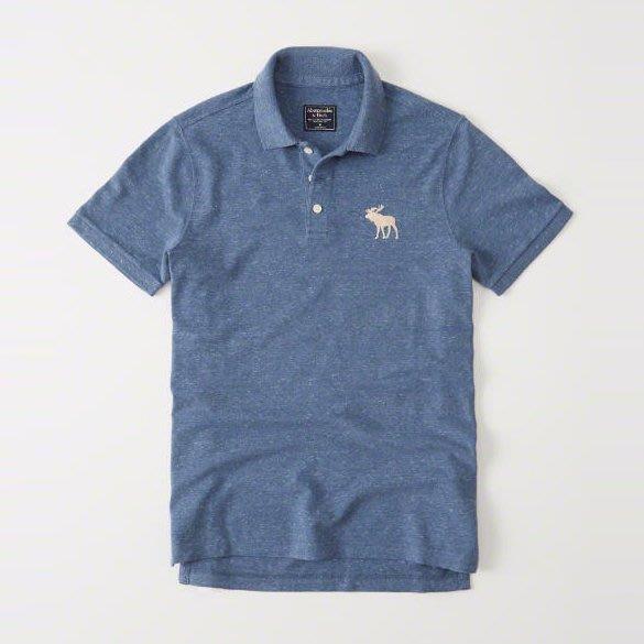 美國百分百【Abercrombie & Fitch】Polo衫 AF 短袖 麋鹿 男 素面 復古藍 XS號 I359