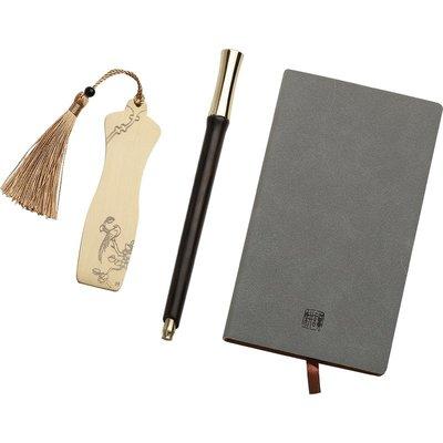 紅木金屬簽字筆書簽記事本 高檔商務黑色中性筆水筆套裝定制刻字
