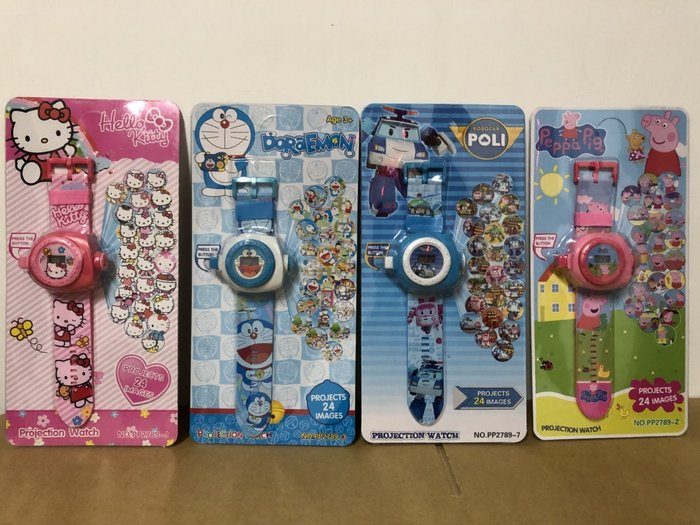 ✿荳荳小舖✿聖誕節 交換禮物 Poli手錶 投影手錶 電子錶 卡通投影手錶(波力/哆啦a夢/Kitty/冰雪/佩佩豬)
