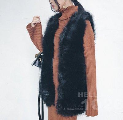 ++1026++歐美韓國氣質風 狐狸毛毛海仿皮草 合身寬鬆 無袖罩衫馬甲 保暖披肩外套 黑色白色 長版兔毛毛絨毛毛背心