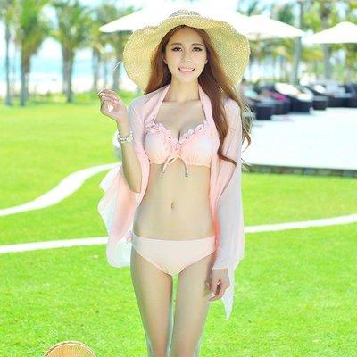韓國新款小胸鋼托聚攏比基尼三件套泳衣女披紗泳裝性感分體游泳衣