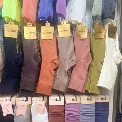 RE BORN韓國進口東大門純色絲襪中長筒堆堆襪絲棉潮襪女秋季
