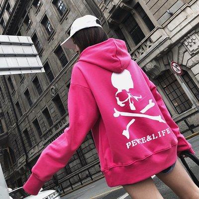 ❤Princess x Shop❤現貨出清 不退不換 韓版新款玫紅色骷髏頭原宿風長袖寬鬆中長款上衣DL809293