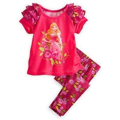 美國迪士尼Disney Store睡美人短袖上衣 長褲二件組 5~6歲 售600含運