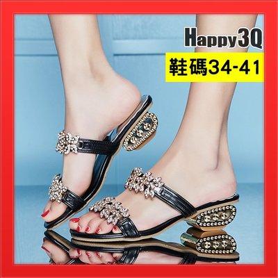 水鑽低跟女鞋涼鞋加大尺碼41女鞋40拖鞋粗跟-金/銀/黑34-41【AAA4690】