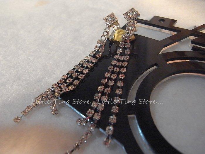 Little Ting StoreMIT台灣製造流蘇排鑽菱形方塊垂吊貼耳水鑽夾式耳環栓式貼耳飾垂吊螺旋夾式耳環