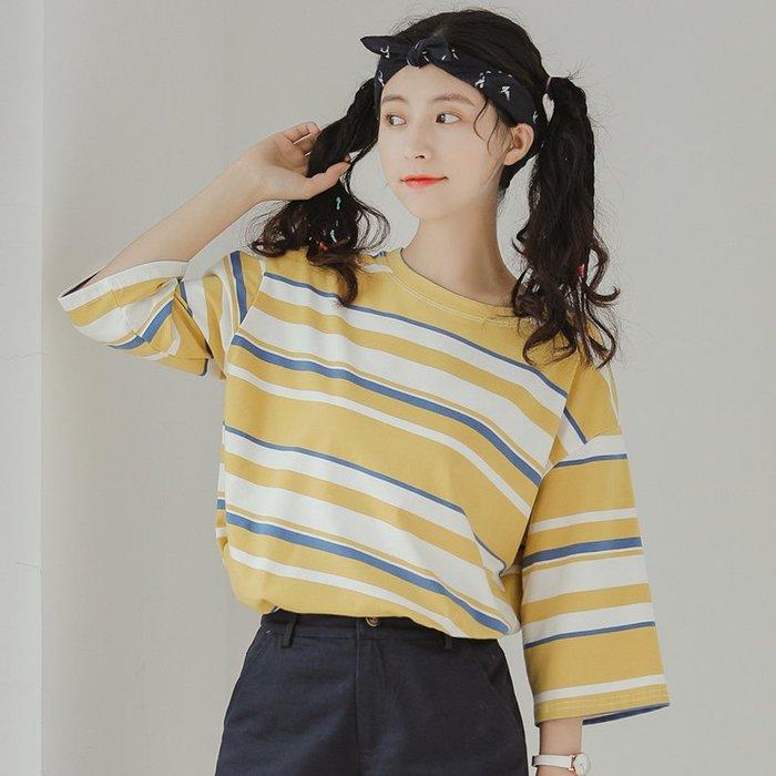 SeyeS MINI 復古率性女孩百搭單品古著配色七分袖條紋T