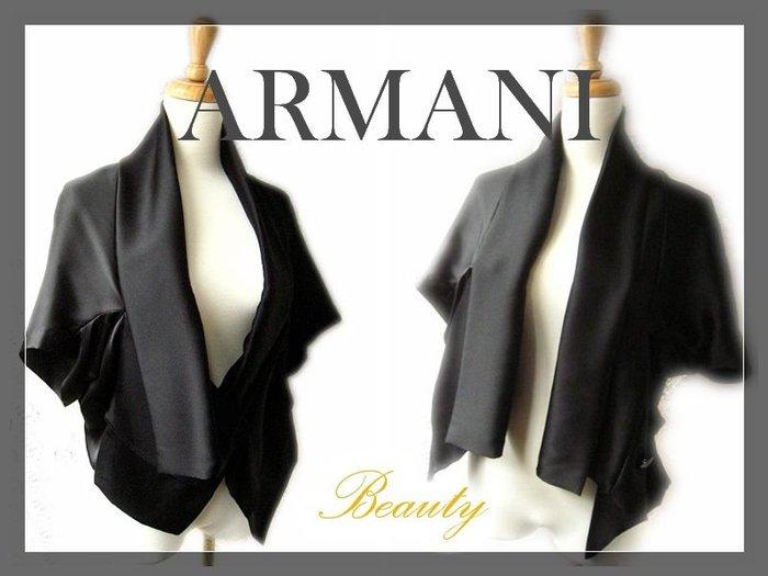 *Beauty*ARMANI黑色緞面薄外套 罩衫禮服 WE15