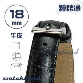 【鐘錶通】C1.27I《亮彩系列-手拉錶耳》鱷魚格紋-18mm 墨黑┝手錶錶帶/皮帶/牛皮錶帶┥