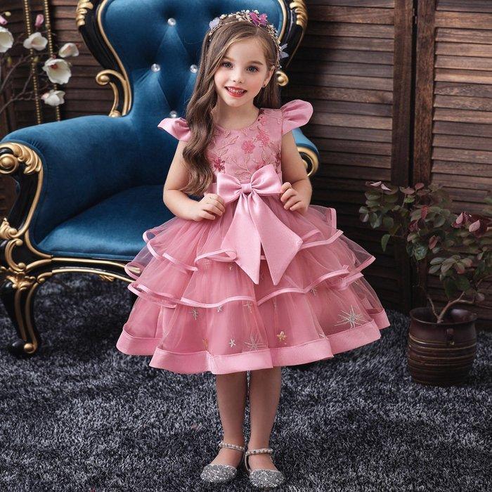 •*~ 辣媽咪衣飾小舖 ~*•❤童裝系列❤K970442韓版大童夏款甜美清新時尚蓬蓬蕾絲亮片可愛公主禮服公主洋裝