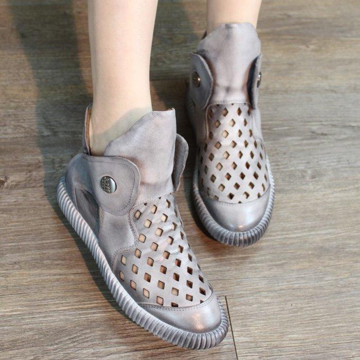*菇涼家*夏新款復古休閒平底凉靴軟底牛皮镂空凉鞋真皮凉靴女圆頭裸靴