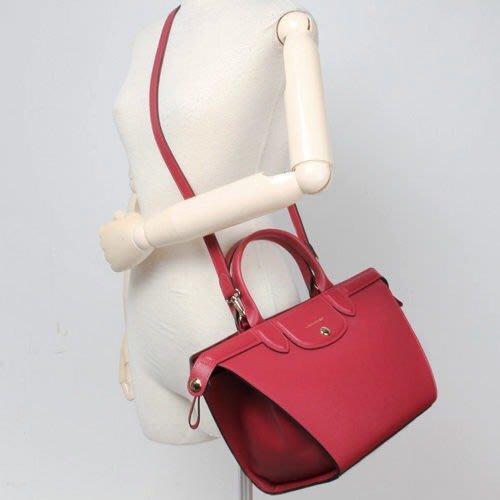 天使熊雜貨小舖~法國Longchamp Heritage法式典雅防刮皮革手提斜背二用包 ~搶購價~