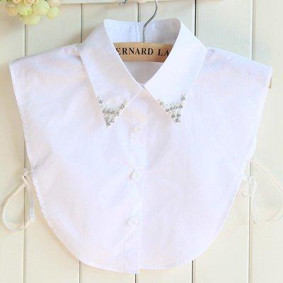 假領子襯衫領片-鑲鑽珍珠白色尖領女裝配件73vk27[獨家進口][米蘭精品]