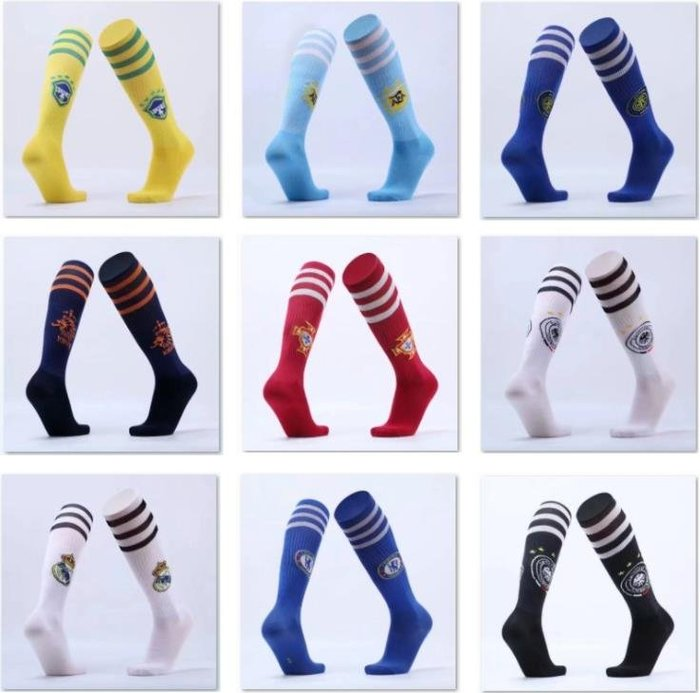 買四送一!!!兒童足球襪運動襪過膝切爾西阿根廷巴西皇馬巴薩小孩學生長筒球襪