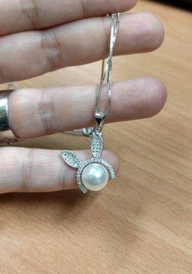 S925 銀兔子耳朵項鏈~有S925印記