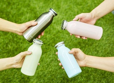 【Apple 艾波好物.選物】日本mosh 牛奶系保溫瓶 雙層真空 350ml 藍
