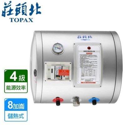 2【大台北 免運費】莊頭北 TE-1080W 儲熱電熱水器 電爐 8加侖 橫掛式