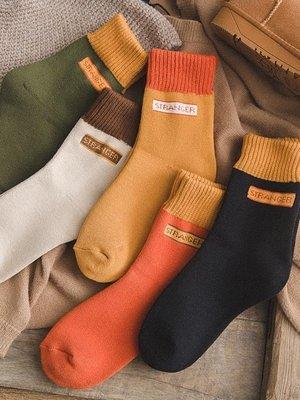 【蘑菇小隊】春天加厚加絨毛襪子女中筒襪韓版學院風日系秋春季韓國保暖毛圈襪-MG22898