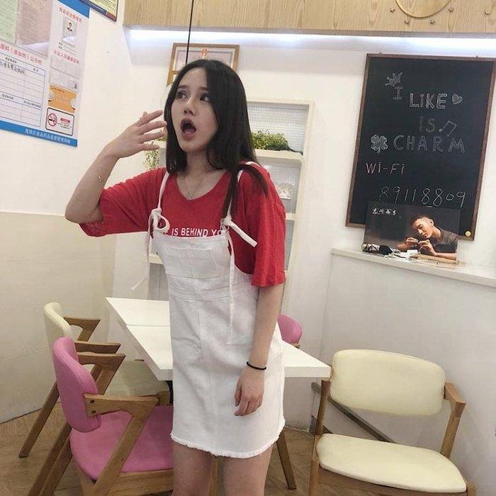 韓國M.CC 夏新款 糖果色牛仔背帶裙吊帶裙 繫帶 直筒顯瘦女