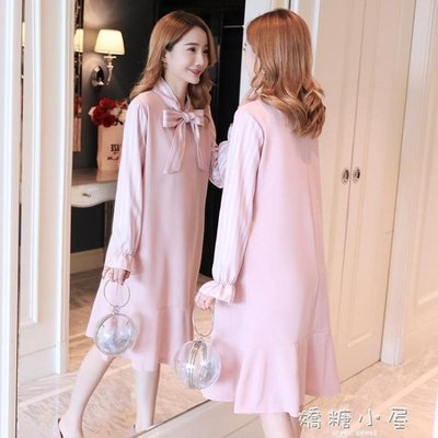 孕婦秋裝新款韓版時尚蝴蝶結寬鬆孕婦洋裝中長款氣質孕婦裝