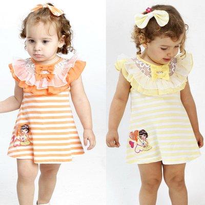 PINKNANA童裝 小童荷葉袖條紋洋裝S33555