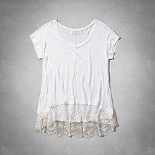 Maple麋鹿小舖 Abercrombie&Fitch * AF 女生白色大寬領下擺蕾絲上衣  *( 現貨XS號 )