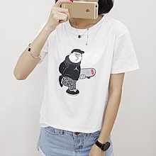 =EF依芙=韓國首爾 時尚精品 東大門同步 夏季新款韓版胖mm時尚卡通圓領短袖T恤 大碼女裝17834