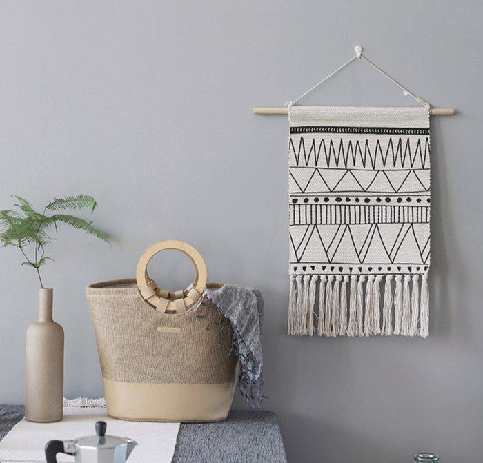 北非 摩洛哥風情 黑白幾何流蘇掛簾 客廳餐廳咖啡廳壁掛 布掛 民宿 租屋 居家裝飾 |悠飾生活|
