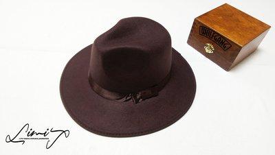 『出清促銷』咖啡寬沿紳士帽 Wide brim hat 硬挺 薄 歐美 百 寬沿 大帽簷 【LtLf】