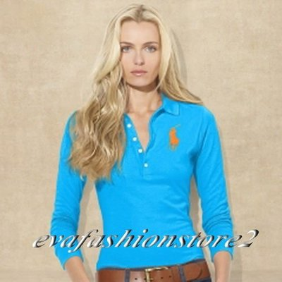 【Polo Ralph Lauren】Women 美麗繡橘色大馬七分袖網眼藍色POLO衫(S號)~現貨在台~
