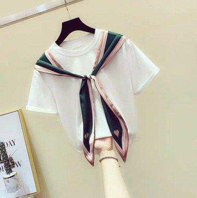 韓系時尚氣質圓領假兩件純棉絲帶綁結拼接T恤上衣