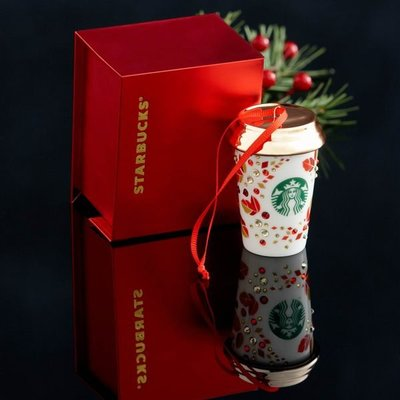 ☆Juicy☆星巴克 starbucks 2013 耶誕樹 全瓷+swarovski 施華洛士奇 水晶 吊飾 擺飾 掛件