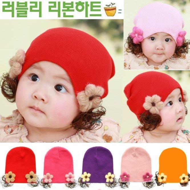 【瑜瑜小屋】甜美《手工花朵款》假髮帽~保暖帽