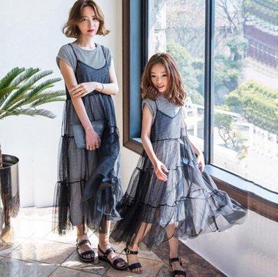 親子裝 童裝韓版女童連身裙網紗吊帶裙條紋裙子兩件套中大兒童洋裝 —莎芭