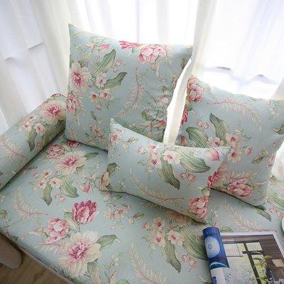 家紡订做 加厚海绵美式乡村田园花朵窗台垫子卡座沙发垫飘窗垫子定做