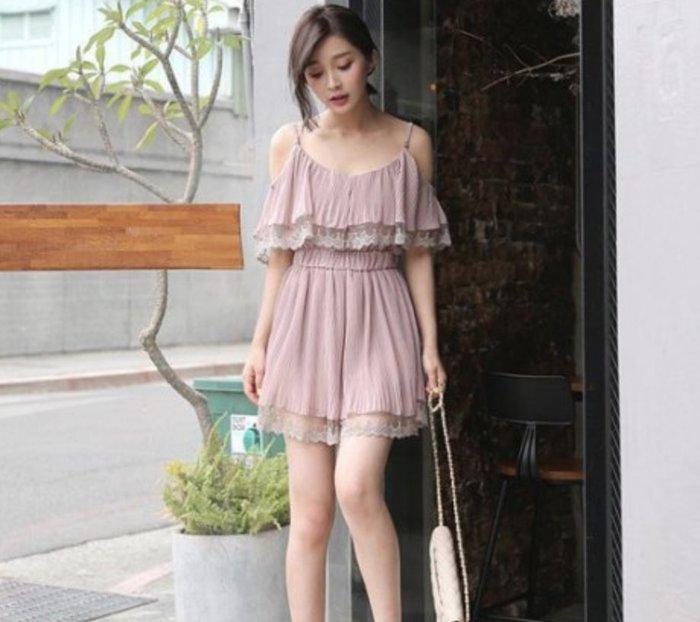❤Shinena 千奈公主❤正韓洋裝✈浪漫透膚蕾絲雪紡連身褲(肩帶可調長短)