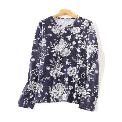 【M's】春季新款韓版時尚印花圓領雪紡長袖上衣*均碼。A80601