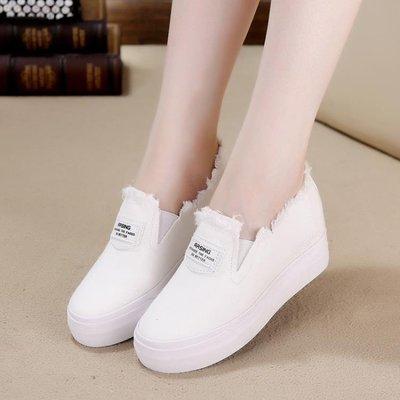 帆布鞋女韓版內增高小白鞋一腳蹬套腳懶人厚底鬆糕休閒鞋