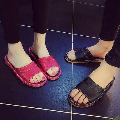 真皮一字凉拖鞋男士夏季防滑居家用情侣韩版室内木地板牛皮拖鞋女