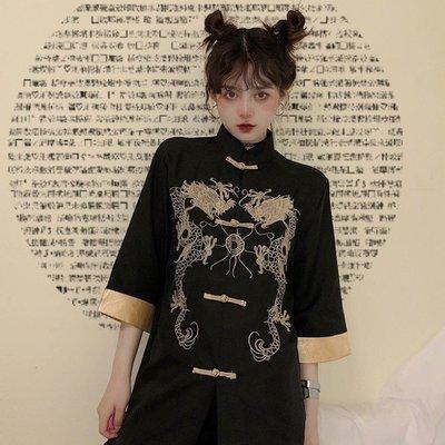 小香風 短袖T恤 時尚穿搭 中國風女裝改良刺繡盤扣襯衫女復古港味設計感小眾上衣國潮外套夏