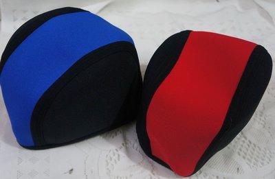 KINI泳具-防寒帽/泳帽-潛水衣材微厚材質-保暖泳帽-[黑底藍/黑底紅]-特價1頂290元