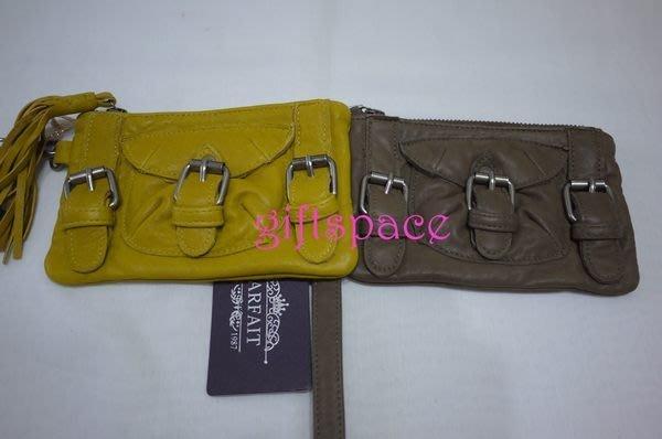 義大利設計師款le queen /Parfait水洗小羊皮 芥末黃 設計款手拿包/零錢包/手機兩用包