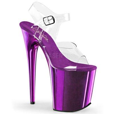 Shoes InStyle《八吋》美國品牌 PLEASER 原廠正品透明金屬鍍鉻極端厚底高跟涼鞋 有大尺碼 『紫色』